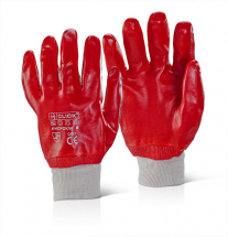 RED PVC KNITWRIST GLOVE (4111) SIZE 10
