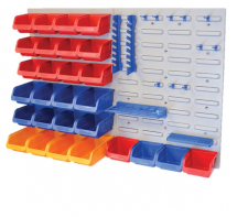 FAI/FULL 43PC STORAGE BIN SET C/W WALL PANELS